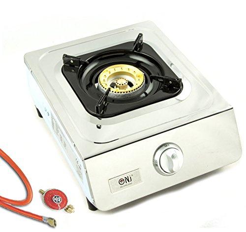 Hochwertiger Edelstahl Gaskocher 1 flammig 5,0 KW LPG Campingkocher WOK Hockerkocher inkl. Gasschlauch-Regler-Set