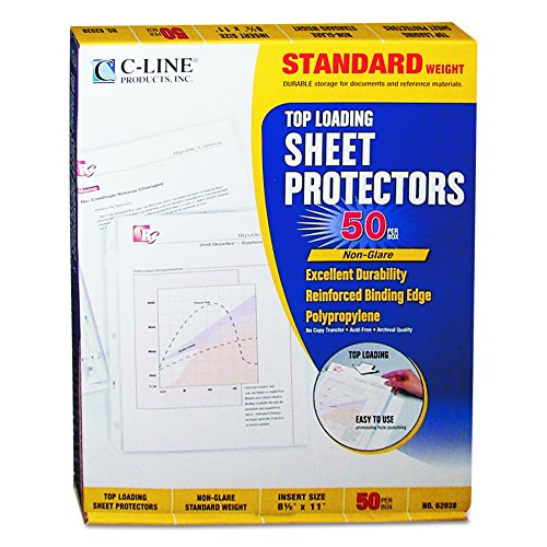 C-Line Top Loading Standard Weight Poly Sheet Protectors, Non-Glare, 8.5 x 11 Inches, 50 per Box (Non Glare Plastic)
