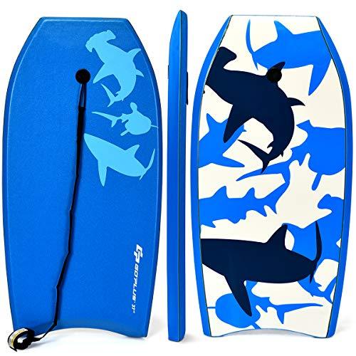 (Goplus Super Bodyboard Body Board EPS Core, IXPE Deck, HDPE Slick Bottom with Leash (Blue Shark,)