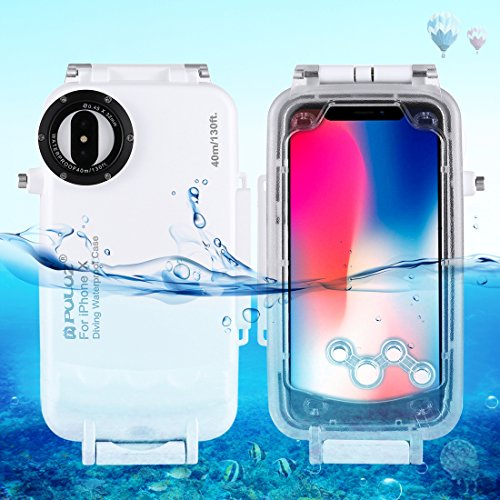 HAWEEL iphone X Diving Case, Professional [40m/130ft] Surfing Swimming Snorkeling Photo Video Waterproof Protective Case Underwater Housing for apple with Lanyard (iphone X, White)