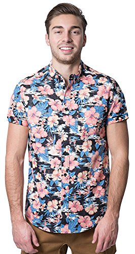 Brooklyn Athletics Men's Hawaiian Aloha Shirt Vintage Casual Button Down Tee, Black/Pink Floral, X-Large
