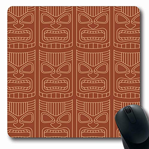 Ahawoso Mousepad Oblong 7.9x9.8 Inches Brown Tahiti Pattern Pink Mask Teeth Tahitian Tiki Tribal Aloha Design Shaded Office Computer Laptop Notebook Mouse Pad,Non-Slip Rubber ()