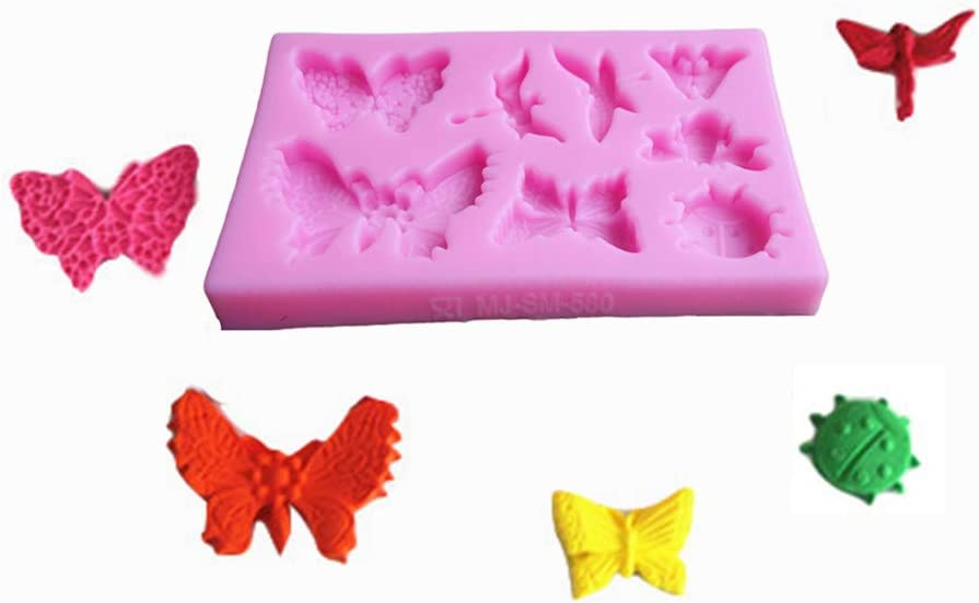 2 Pack Fondant Silicone Molds Dragonfly Baking Molds Set for Making Chocolate Butterfly Resin Epoxy Cake Decoration and DIY Projects Rose Flower mold Candy Polymer Clay