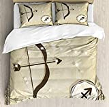 Queen Size Egg Shell Mattress CHASOEA Zodiac Sagittarius Queen Size Duvet Cover Set, Hand Drawn Constellation with Silhouette of a Bow and Arrow, Decorative 3 Piece Bedding Set with 2 Pillow Shams, Eggshell Dark Taupe