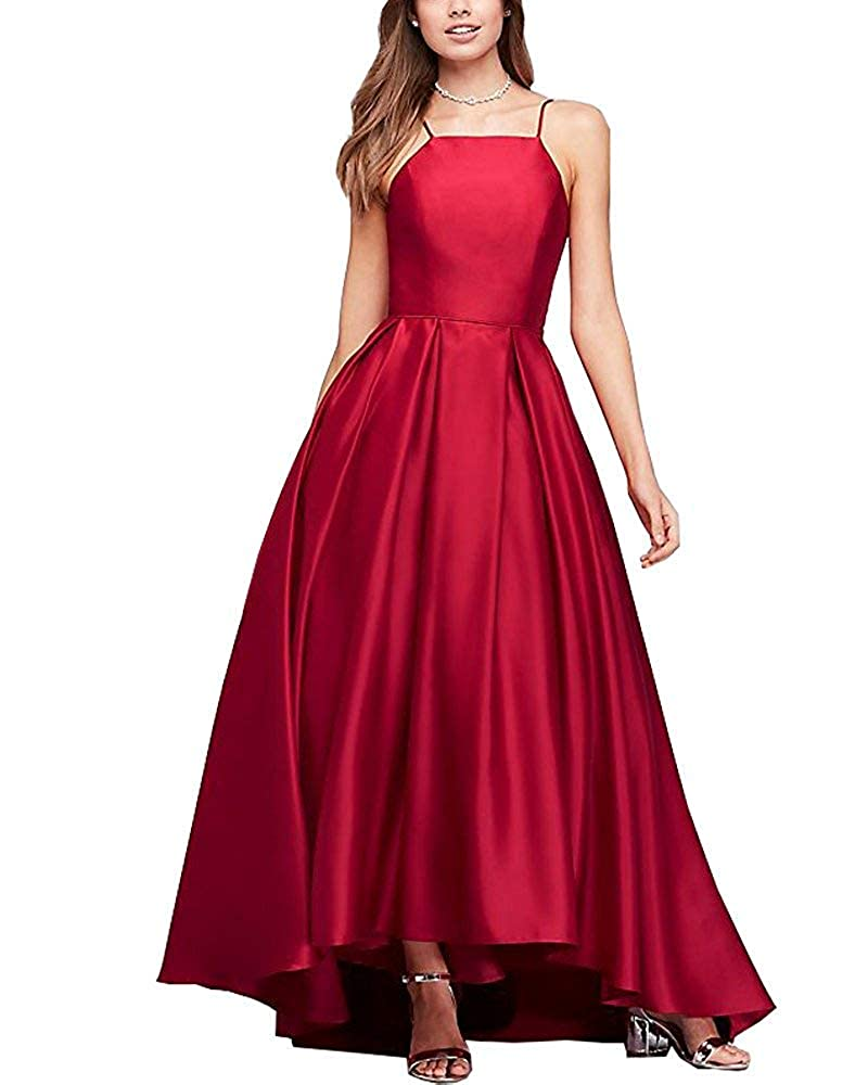Dark Red Gorgeous High Neck Satin Ball Gown Bridesmaid Dresses Prom Gown Maxi Skirt