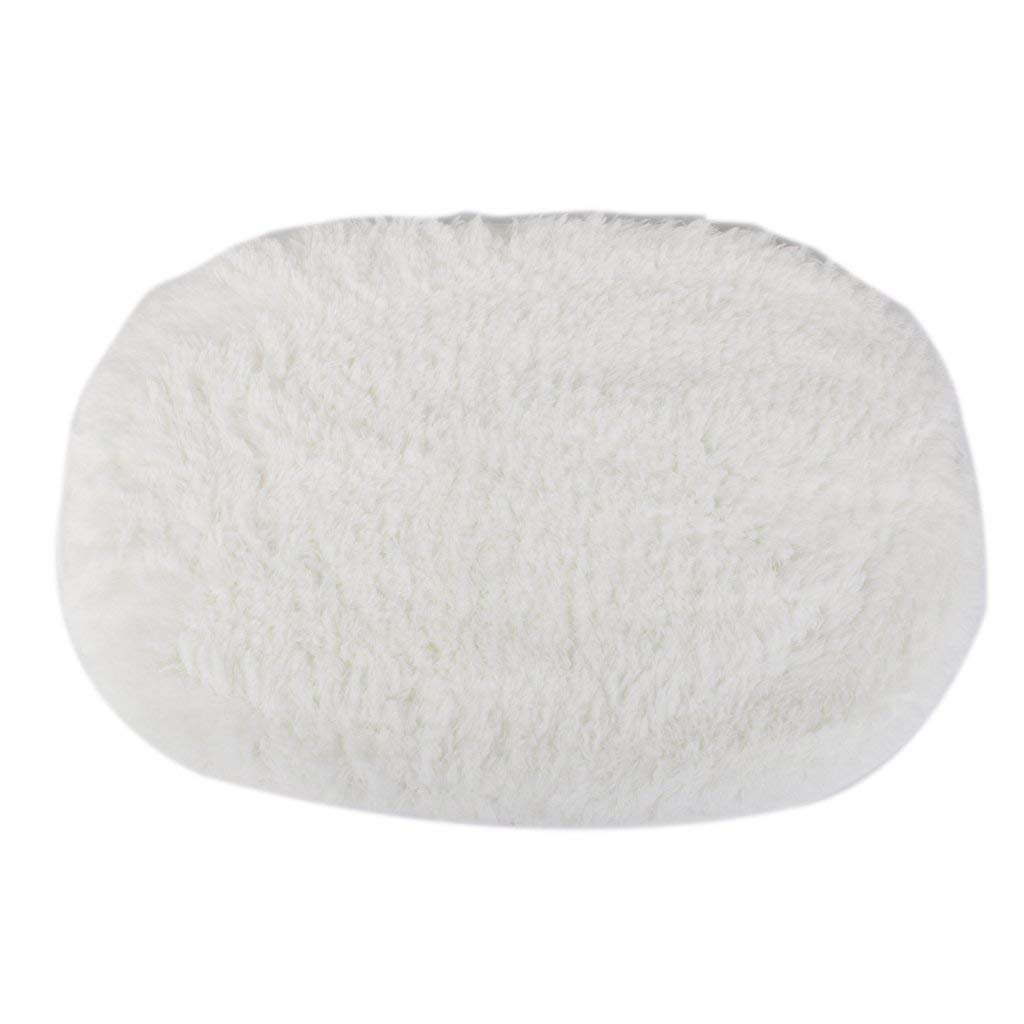 Polymer Absorption Bath Mat Soft Floor Rug Bedroom Cozy Shaggy Rug Oval Living Room Carpet (White)