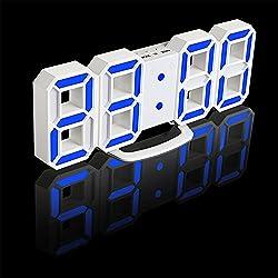 Molshine Alarm Clock Electronic LED Digital Wall clock Desk Clock with Snooze Function (White clock blue light)