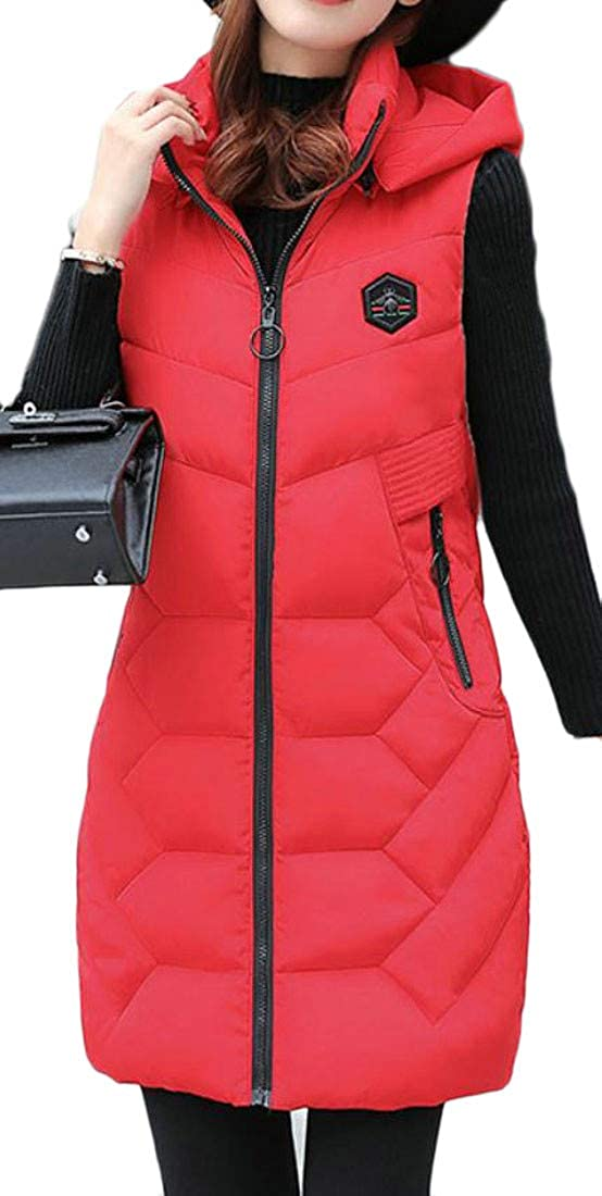 Joe Wenko Womens Quilted Hooded Padded Winter Mid-Long Puffer Down Vest