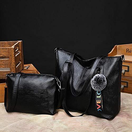 Women Totes Soft Retro Handbags Shopping Black Shoulder Red Leather Crossbody Powlance C4OgwTqg