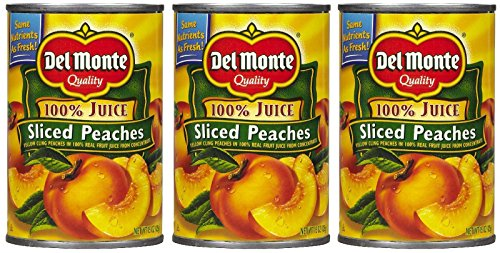 Del Monte Peaches Sliced Yellow Cling 100% Juice, 15 oz, 3 pk
