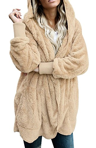 Leindr Womens Winter Warm Long Sleeve Coat Fuzzy Fleece Open Front Loose Hooded Cardigan Jacket Outwear Coat with Pockets Khaki XXL 18 20 (Petite Coat Maternity)