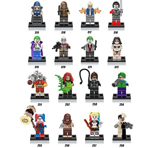 DC Comics Villain super heroes Movie Suicide Squad Building Block Joker Harley Quinn Deadshot Catwoman Minifigures Toys Compatible with (Original Batman Suit)
