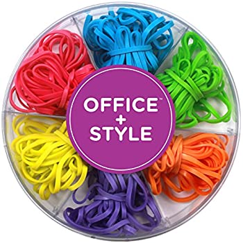 Office+Style Colored Rubber Bands with Close-Lid Storage Container, 120 Pieces