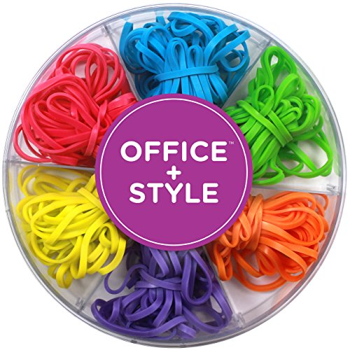 (Office+Style Colored Rubber Bands with Close-Lid Storage Container, 120 Pieces)