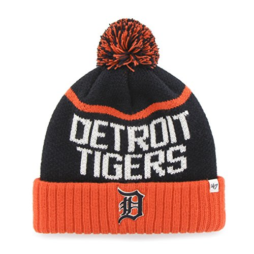 Mlb Detroit Tigers 47 Linesman Cuff Knit Hat With Pom  One Size Fits Most  Navy