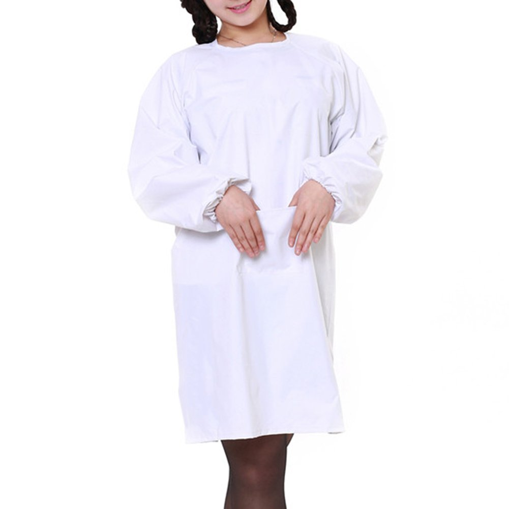 Opromo Womens' Long Sleeved Waterproof Apron Smock with One Front Pocket WHITE-L