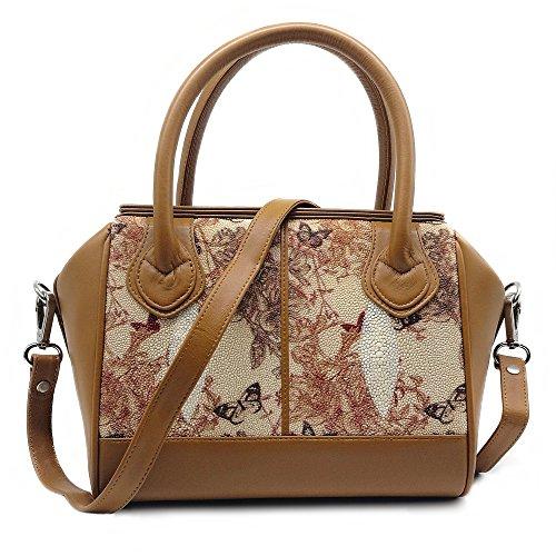 Stingray Genuine Leather Top Handle Handbag & Sholuder bag (White Butterfly) by Treasure