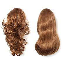 OneDor 15 Inch Dual Use Curly Styled Clip in Claw Ponytail Hair Extension Synthetic Hairpiece 130g with a Jaw/claw Clip (27#-Strawberry Blonde)