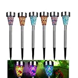 Solar Mosaic Garden Lights,AMZstar Mosaic Landscape Lights Solar Garden Decoration Stake Lights with 3 Color for Pathway,Garden,Patio,Yard,Home,Parties,Pack of 6