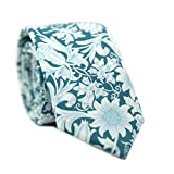 DAZI Men's Skinny Tie Floral Print Cotton Necktie, Great for Weddings, Groom, Groomsmen, Missions, Dances, Gifts. (Jade)