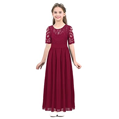 iEFiEL Big Girls Floral Lace V Back Chiffon Long Dress Princess Wedding Juniors Bridesmaid Birthday
