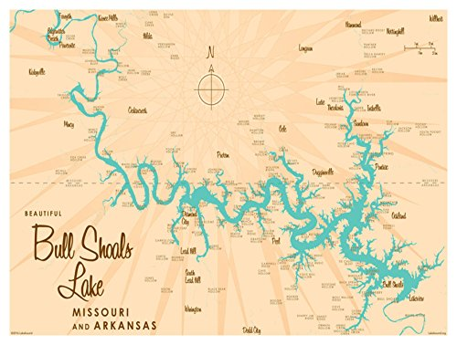 Bull Shoals Lake MO Arkansas Vintage-Style Map Art Print Poster by Lakebound (9