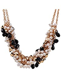 Fashion Women Gold Tone Resin Beaded Cluster Bib Statement Collar Necklace