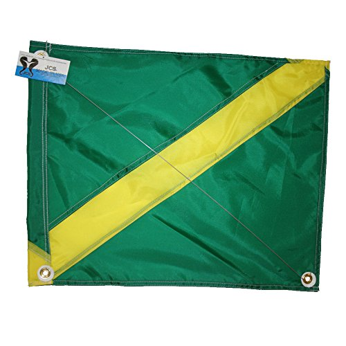 JCS Nylon Nitrox Boat Flag, Slip on Style (42inch x 52inch, Green & Yellow Dive Flag)