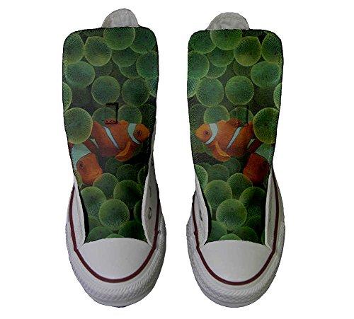 Converse Customized Chaussures Personnalisé et imprimés UNISEX (produit artisanal) avec des poissons rouges - size EU38