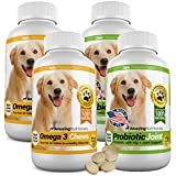 Amazing Combo Omega-3 Fish Oil and Probiotics for Dogs - Pure All-Natural Pet Antioxidant - Promotes Shiny Coat, Brain Health, Eliminates Diarrhea Gas and Joint Pain, 120 Tasty Chews x 4