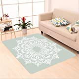 Nalahome Custom carpet ental Pattern with Damask Arabesque and Floral Elements Classical Islamic Art Motifs Green White area rugs for Living Dining Room Bedroom Hallway Office Carpet (5' X 7')