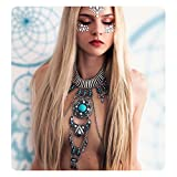 KissYan Vintage Boho Statement Necklace Crossover Harness Bikini Waist Belly Body Chains Necklace Silver Long Turquoise Necklace for Women