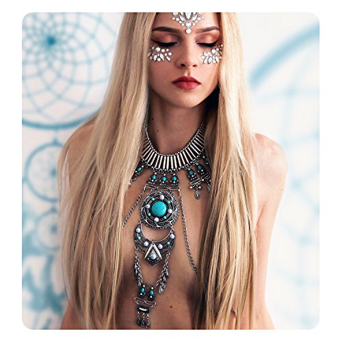 KissYan Vintage Boho Statement Necklace Crossover Harness Bikini Waist Belly Body Chains Necklace Silver Long Turquoise Necklace for (Chain Vintage Necklace)