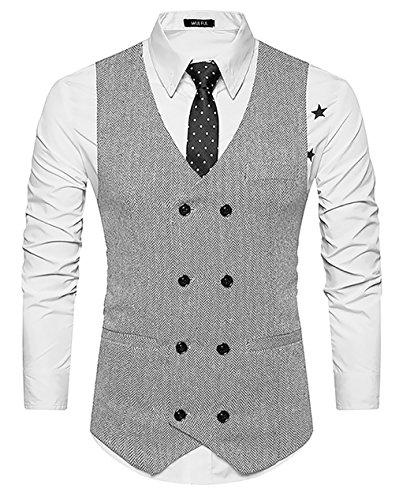 WULFUL Mens Slim Fit Double Breasted Tweed Waistcoat Vintage Gentleman British Suit Vest ()
