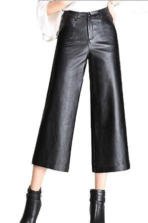 Pantaloni Pelle Autunno Invernali Eleganti Donna Pantaloni Larghi Con  Tasche Con Cerniera Basic High Waist Baggy Lunga Trousers Pantaloni Pelle  Sintetica ... b0cddeb58e9
