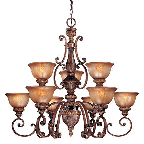 Minka Lavery Chandelier Pendant Lighting 1358-177, Illuminati Glass 2 Tier Dining Room, 9 Light, 900 Watts, Bronze - 177 Illuminati Bronze Finish