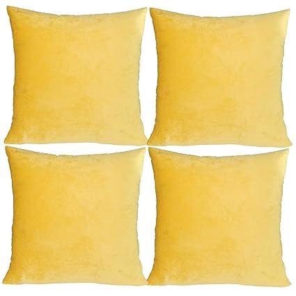 JOTOM Funda de cojín de Terciopelo Suave machacada, Funda de Almohada para la decoración del sofá Cama de la casa 45 cm x 45 cm, Juego de 4 (Amarillo ...