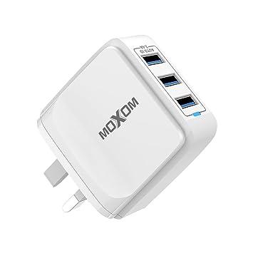 MOXOM - Cargador USB con Cable USB (3 Puertos, Cargador de ...