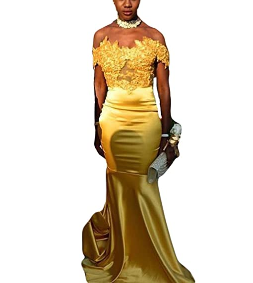 TulBridal Womens Gold Appliques Beaded Mermaid Prom Dresses Long Evening Formal Gowns 2018