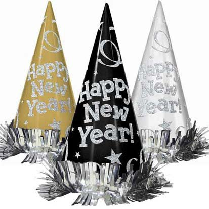 Black, Silver and Gold Metallic New Year's 9in Party Hats 12ct