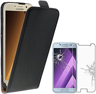abb5dd0bcdc ebestStar - Compatible Funda Samsung A3 2017 Galaxy SM-A320F Carcasa  Abatible PU Cuero, Ultra Slim Case Cover, Negro +Cristal Templado Protector  [NB:Leer ...