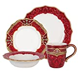 Fitz and Floyd 80-272 Renaissance Holiday 4 Piece Place Setting Dinnerware, Red/White