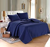 "QUEEN NAVYBLUE Solid color Quilted Bedspread Coverlet(90""x102"") +2 shams (20""x26"") Hypoallergenic Overfilled Bedcover for homes,hotels/motels, Airbnb, rentals polyester filling 120gsm-5.11lbs"