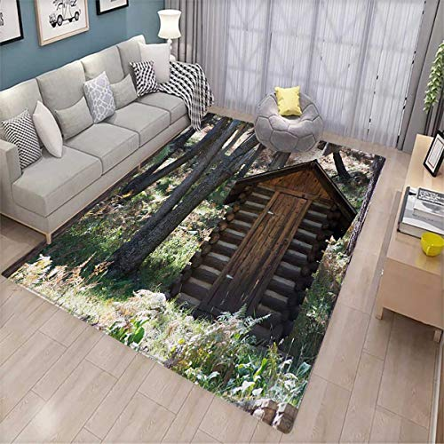 (Outhouse Door Mats for Inside Wooden Primitive Life Barn Shed in Spring Forest Leaves Lumberjack Photo Bath Mat for tub Bathroom Mat 4'x5' Dark Brown and Green)