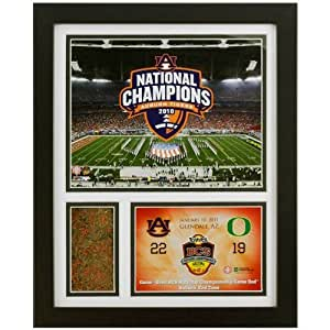 Auburn Tigers 2010 BCS National Championship Framed Game-Used Sod Collage