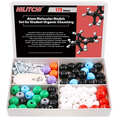 Hilitchi 179Pcs Chemistry Molecular Model Kit for Organic and Inorganic Chemistry Model Kit Student Study Aid Set (76 Atoms & 102 Links & Short Link Remover Tool)