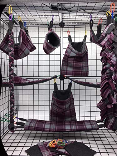 The Kozy Kritter 15 Piece Merlot and Gray Plaid Sugar Glider Cage - Blanket Sugar Glider Fleece
