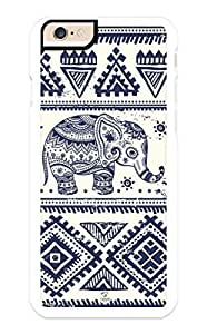 linJUN FENGiZERCASE iPhone 6 Case Tribal Blue Elephant on Aztec Pattern RUBBER CASE - Fits iPhone 6 T-Mobile, Verizon, AT&T, Sprint and International