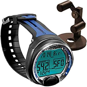 Cressi Leonardo Dive Computer, Scuba Diving Instrument Black / Blue w/ Watch Stand