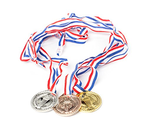 Neliblu Torch award Medals (2 Dozen) - Bulk - Gold, Silver, Bronze Medals - Olympic Style Award Medals - First Second Third Winner - Great for Party Favor Decorations and Awards By -